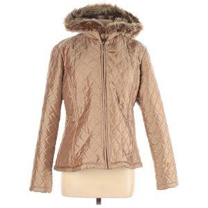 True Grit Tan Shimmery Lined Jacket Coat M